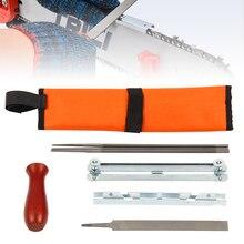 8 шт., профессиональный набор для ЗАТОЧКИ ЦЕПНОЙ ПИЛЫ, набор инструментов, деревянная ручка+ круглая/Плоская направляющая для напильника, точилка для напильников, инструменты