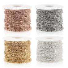 Aiovlo – Lot de chaînes en acier inoxydable de 2 m, câbles en vrac de 1 mm, 1,5 mm, 2 mm, 2,5 mm, pour collier, bijoux à bricoler soi-même, matériaux, or rose