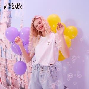 Женская футболка ELFSACK, белая Повседневная футболка с контрастным кружевом и забавным графическим принтом в стиле Харадзюку, лето 2020