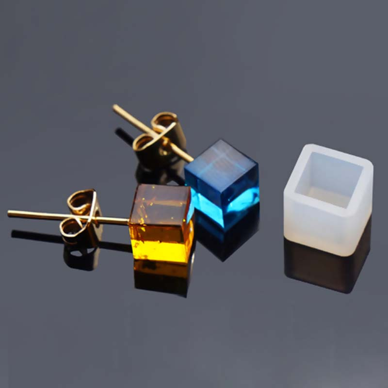 Resin DIY Crystal Epoxy Silicone Resin Mold For Stud Earrings Jewelry Making Square White 7mm( 2/8