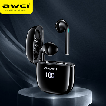 AWEI TWS T28P Bluetooth Earphones with LED Digital Display With Microphone