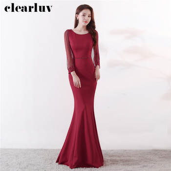 Crystal Beading Prom Dresses Long Sleeves Party Gown DX333-2 Long Formal Evening Dresses 2020 Burgundy Plus Size Robe De Soiree