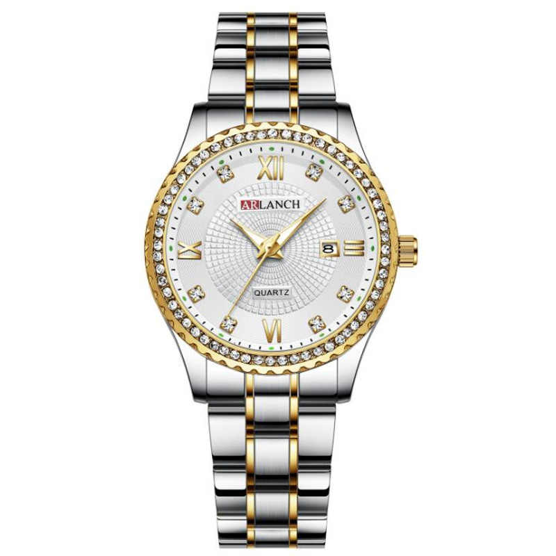 2019 women's diamond waterproof stainless steel watch classic gold silver calendar quartz clock Women Montre Femme reloj