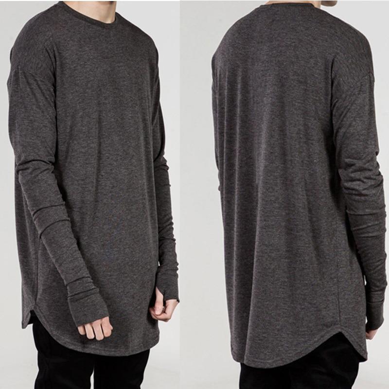 Mens T Shirts Fashion 2019 New High Street Long Sleeve T Shirt Men Hip Hop Dance Men's Arc Hem Bottoming Shirt Men Clothing