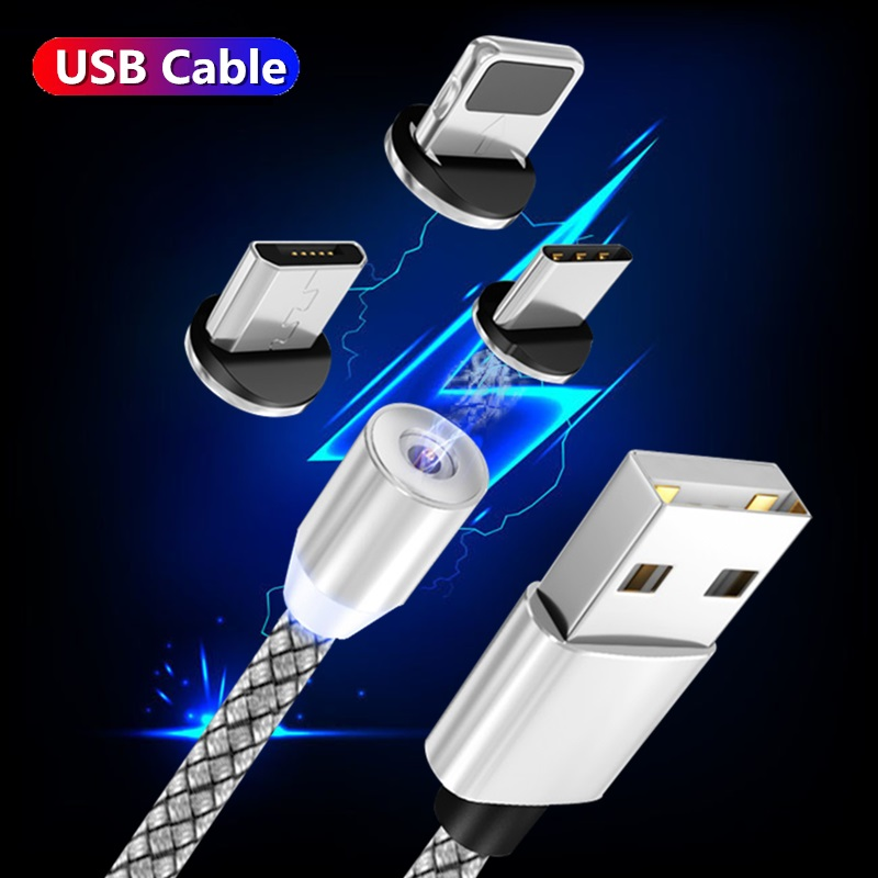 Fast Charging USB Cable For Iphone TYPE-C Micro USB Data cable Magnetic Plug for Xiaomi Redmi <font><b>Samsung</b></font> oppo Charger 1m 2m line image
