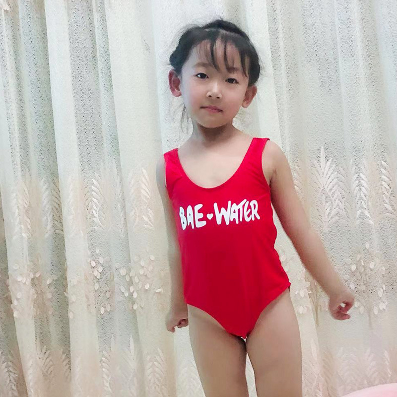 2019 New Style GIRL'S One-piece Swimsuit Solid Color Cartoon Printed Bathing Suit KID'S Swimwear