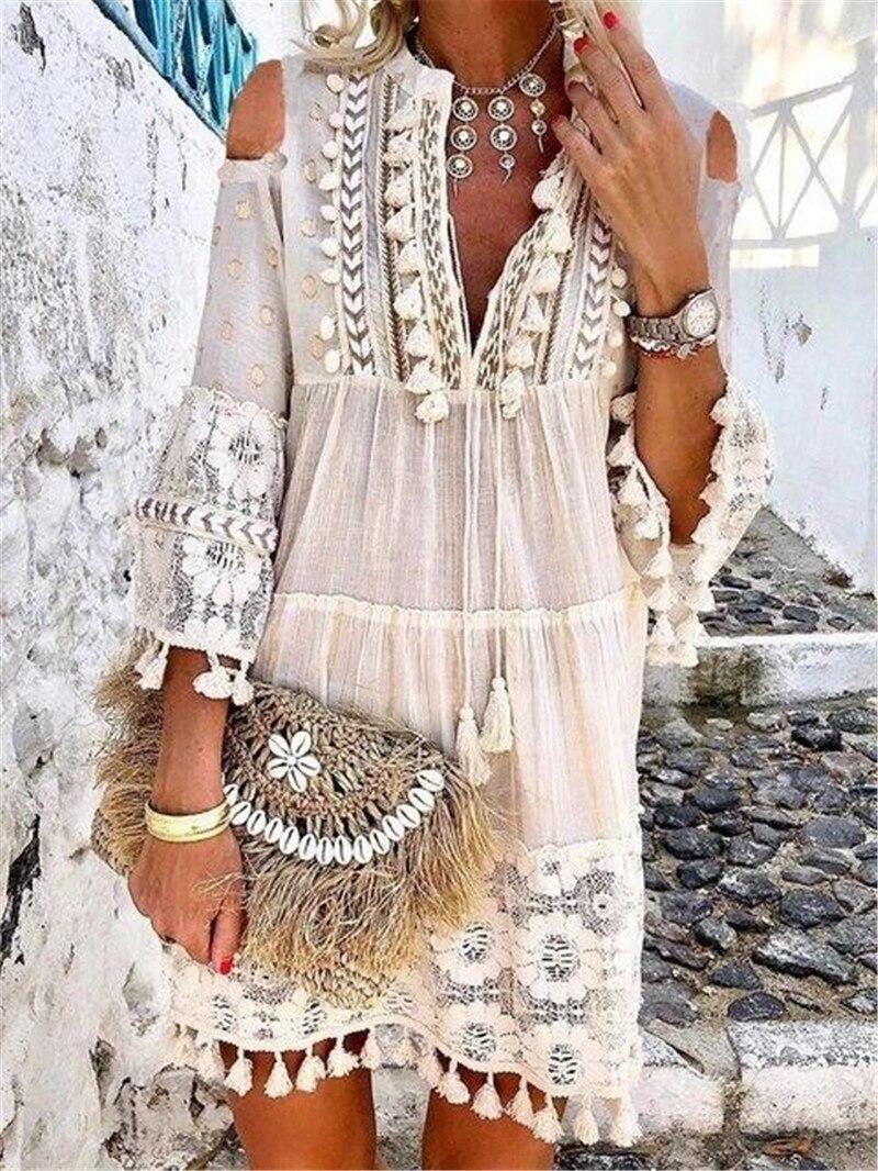 Модное мини-платье европейского стандарта в стиле бохо, женские осенние свободные платья с кисточками и V-образным вырезом, женская пляжная ...