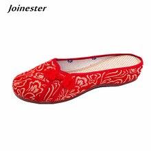 Zapatillas de mujer étnico chino, botón tradicional para mujer, sin espalda, mocasín bordado Vintage, zapatillas de baile para mujer, zapatilla de verano