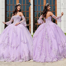 Prom-Gown Quinceanera-Dresses Lavender Long-Sleeves Sweet 16 Bridal-Wear Lace Applique