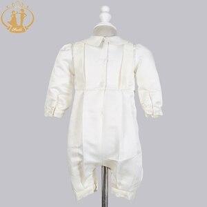Image 3 - Zwinny Boys Baby chrzciny suknie Satin formalna okazja chłopcy Romper noworodków ubrania Ivory dzieci chrzest sukienki 0 12M