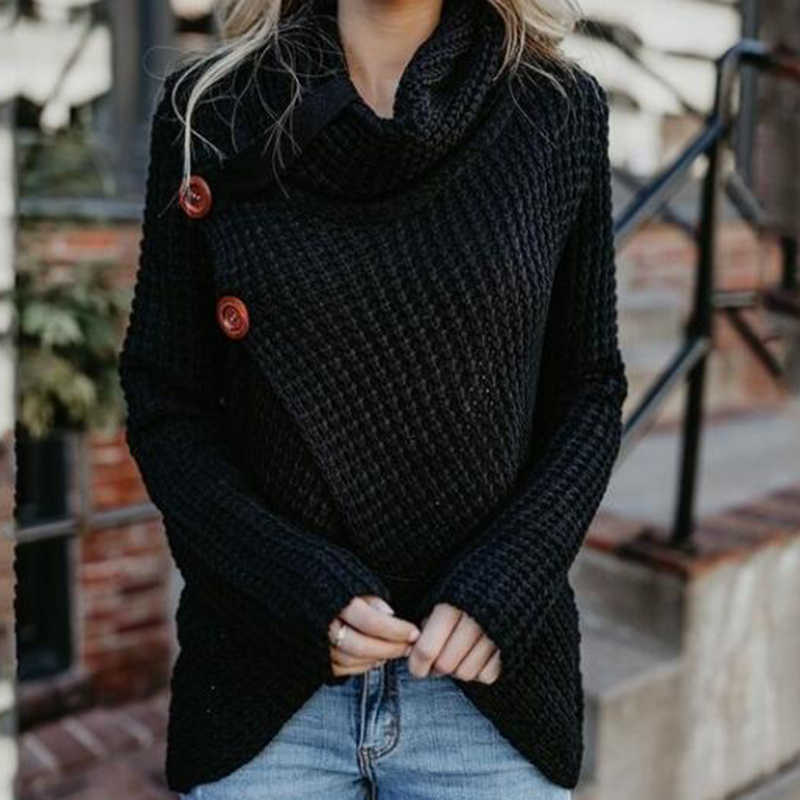 Winter Women Knit Sweater Single-breasted Loose Cardigan Coat Warm High Collar Irregular Long sleeve Sweater s439
