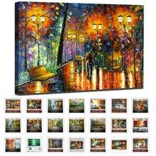 Große Handgemalte Liebhaber Regen Straße Baum Lampe Messer Landschaft Ölgemälde Auf Leinwand Wand Kunst Für Wohnzimmer Wohnkultur bild