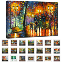Large Handpainted Lover Rain Street Tree Lamp Knife Landscape Oil Painting On Canvas Wall Art For Living Room Home Decor Picture