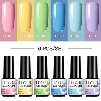 LILYCUTE 4/6 Pcs Gel Nail Polish Set 112 Color Glitter Semi Permanent Hybrid Gel Varnish Base Top Coat Soak Off UV LED Nail Art недорого