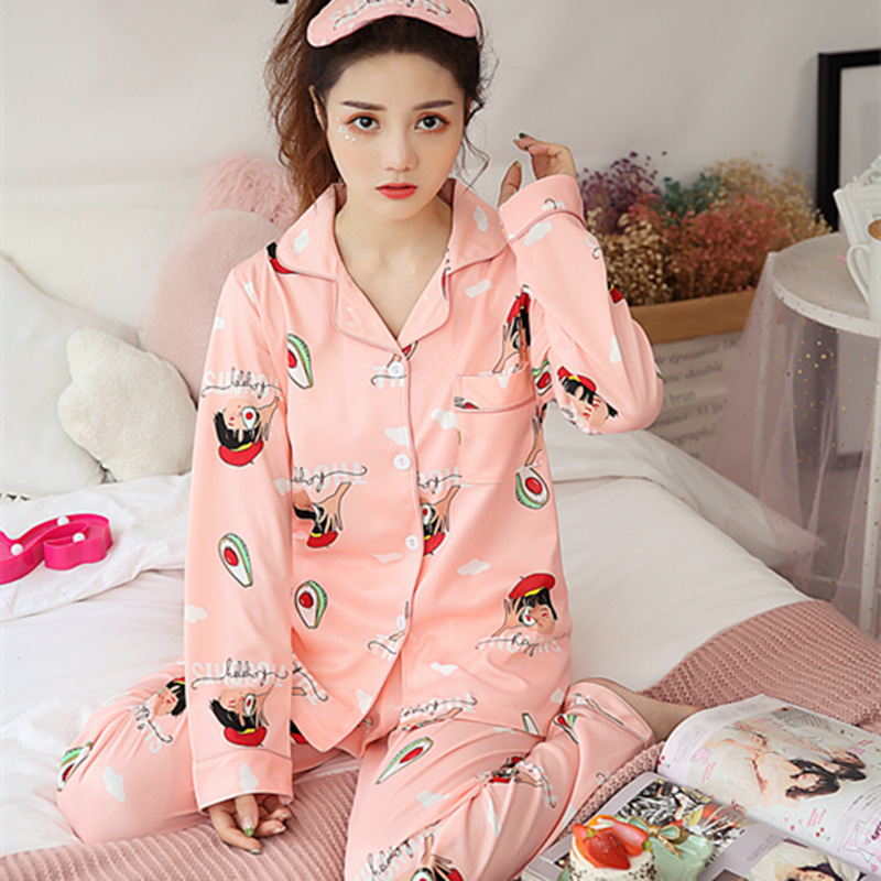 Pijama Mujer Pajamas Set For Women 2019 Autumn Winter New Ladies Sleepwear Long Sleeve Print Fashion Women Pyjamas Set Nightwear