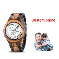 Custom LOGO Printing Photo Men Watch Unique Bamboo Wood Engrave picture Wristwatch Creative anniversary Christmas Birthday Gift