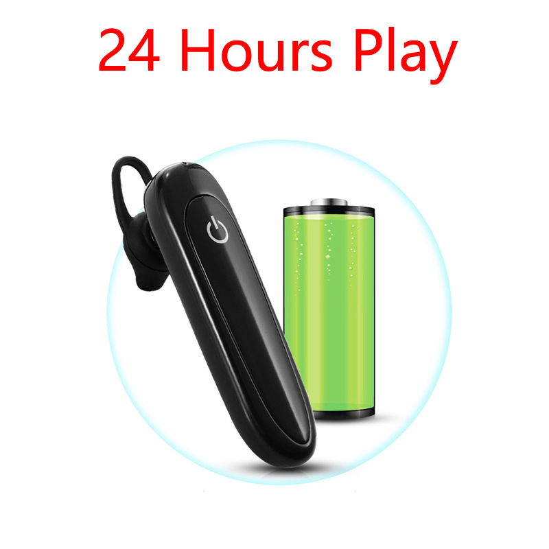 24 Hours Play Business Bluetooth Headset Car Bluetooth Earpiece Hands Free With Mic Ear-hook Wireless Earphone For IPhone Xiaomi