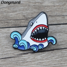 K924 2019 New Fashion Shark Cartoon Cool Pins Metal Enamel Pins and Brooches for Lapel Pin Backpack Bags Badge Collar Jewelry