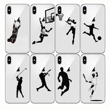 Soft Silicone Cases Phone Cover Baseball Football Soccer Tennis Golf Sports Athlete  for Iphone 5s se 6 6S 7 8 Plus X XR XS MAX