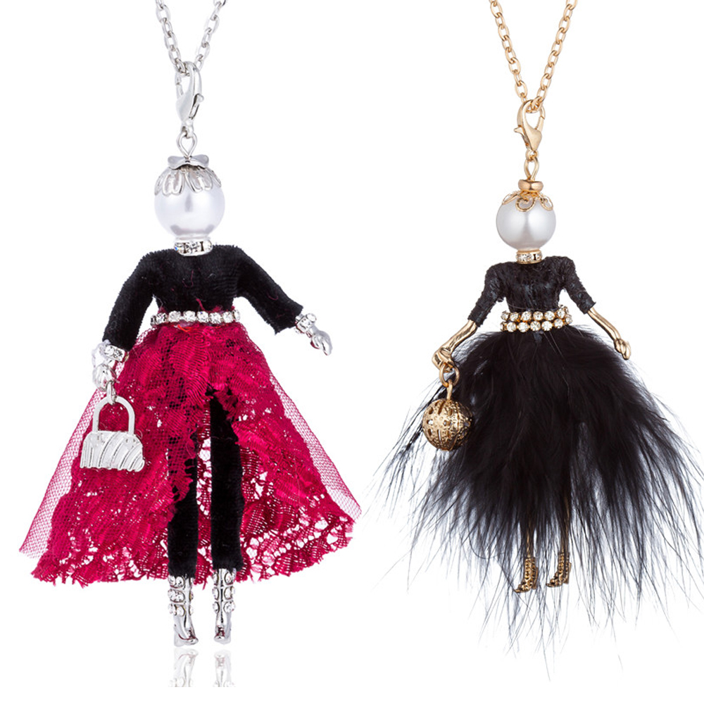 HOCOLE New Handmade Doll Necklace Feather Dress Long Chain Pendant Women Fashion Rhinestone Cute Girl Statement Jewelry