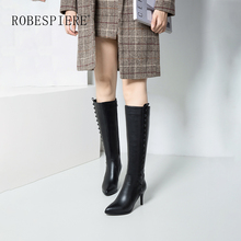 ROBESPIERE 2019 Rivet Knee High Boots For Women Thin Heels Quality Genuine Leather Shoes Winter Warm Plush Large Size B76
