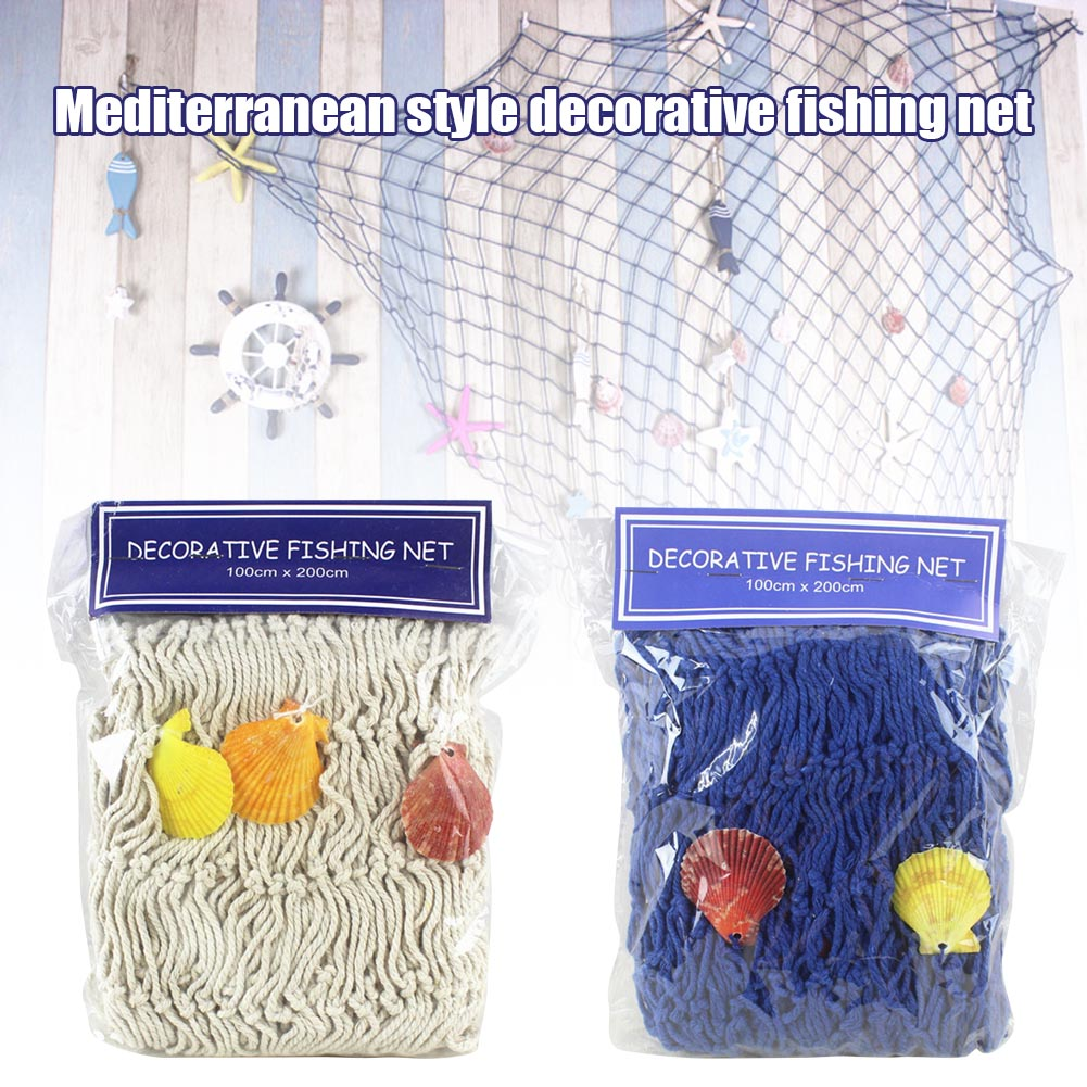 Mediterranean Marine Style Soft Decoration Decorative Fishing Net Hand-woven Float Shell Decorative  PAK55