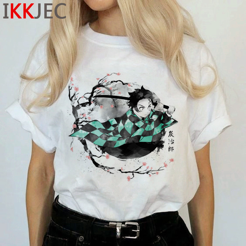 Demon Slayer Harajuku Anime T Shirt Women Kimetsu No Yaiba Ullzang Funny Cartoon T-shirt 90s Cool Tshirt Graphic Top Tees Female 8