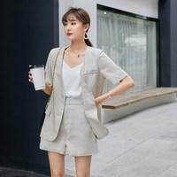 Summer Women Korea Cotton Blazer Short Pant Set Short Sleeve Blazer And Short Pant Suit Female Office Loose Suit