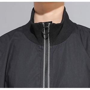 Image 5 - XITAO خليط ضرب اللون الأسود T قميص المرأة أزياء الملابس 2019 موقف طوق كامل كم المحملة أعلى جيب الخريف جديد GCC1431