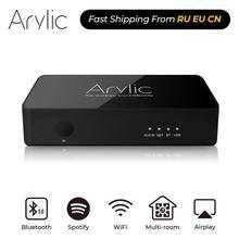 Arylic S10 WiFi ו Bluetooth 5.0 HiFi סטריאו אודיו מקלט מתאם עם Spotify Airplay DLNA אינטרנט רדיו Multiroom משלוח App