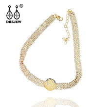 DREJEW Gold Silver Full Rhinestone Pearl Choker Long Exquisite Crystal Chain Necklaces Sets for Women Statement Jewelry HN992 drejew gold silver full rhinestone pearl choker long exquisite crystal chain necklaces sets for women statement jewelry hn992