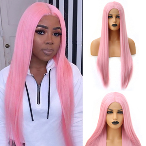 Charisma Straight Hair Wig Lace Front Wigs with Natural Hairline Pink Wig High Temperature Fiber Synthetic Wig for Women(China)