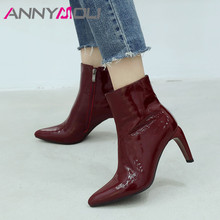 ANNYMOLI Real Leather Ankle Boots Women Zipper Thick High Heel Short Boots Genuine Leather Pointed Toe Shoes Lady Autumn Size 42 цены онлайн