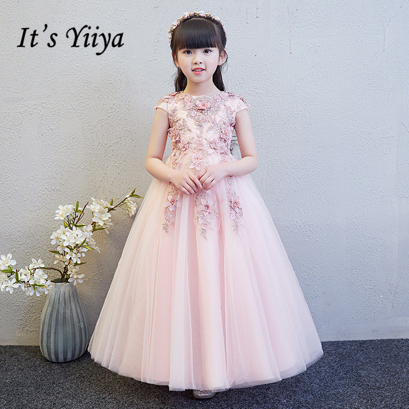 Flower Girl Dresses For Weddings It's Yiiya B013 Luxury Beading Appliques Princess Dress Pink Kids Long Communion Dresses