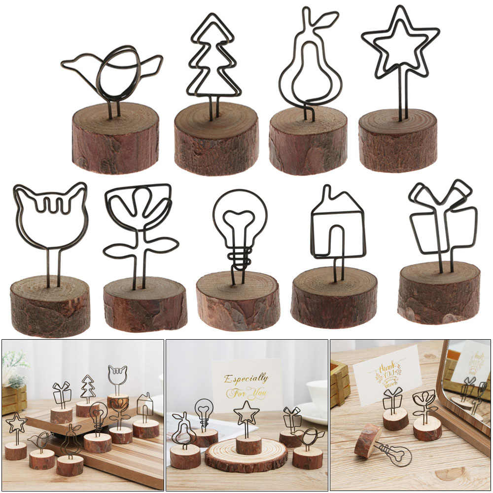 Round Iron Wood Table Numbers Holder Picture Wall Frame Photo Clip Note Name Card Hanging Decoration