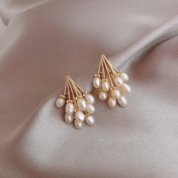 2020 Hot Sale Fashion Jewelry Hedgehog Shape Copper Freshwater Pearl Earrings Elegant Party Party Earrings for women