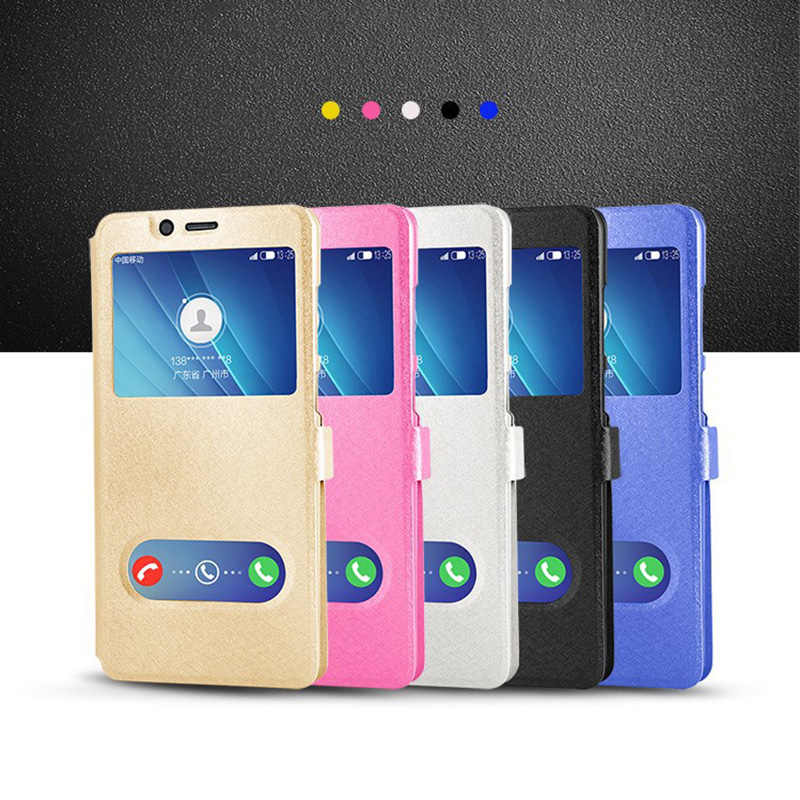 Smart Window View Leather Flip Case voor Samsung galaxy M10 M20 M30 M30S A40S C5 C9 Pro C10 J2 J5 j7 Prime G530 G360 I9080 I9060