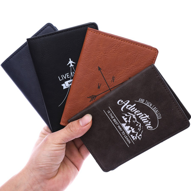Fashion Men Business Passport Covers Simple Holder Travel Accessories ID Bank Card Case PU Leather Letter Business Women Wallet