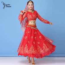 New Indian Dance Belly Dance Performance Clothing Chiffon Long Sleeve Long Skirt Stage Costume Suit Women Adultos Bellydance Top