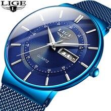 2019ใหม่สีฟ้าควอตซ์นาฬิกาLIGE Luxuryนาฬิกาผู้ชายเรียบง่ายทั้งหมดกันน้ำนาฬิกาข้อมือreloj Hombre