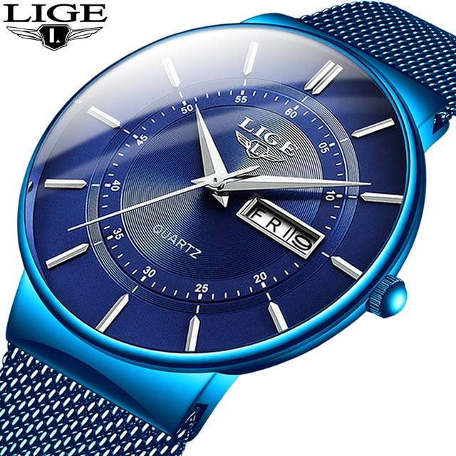 2019 nuovo Blu Orologio Al Quarzo LIGE Mens Orologi Top Brand di Lusso Della Vigilanza Per Gli Uomini Semplici Tutto In Acciaio Impermeabile Orologio Da Polso reloj Hombre