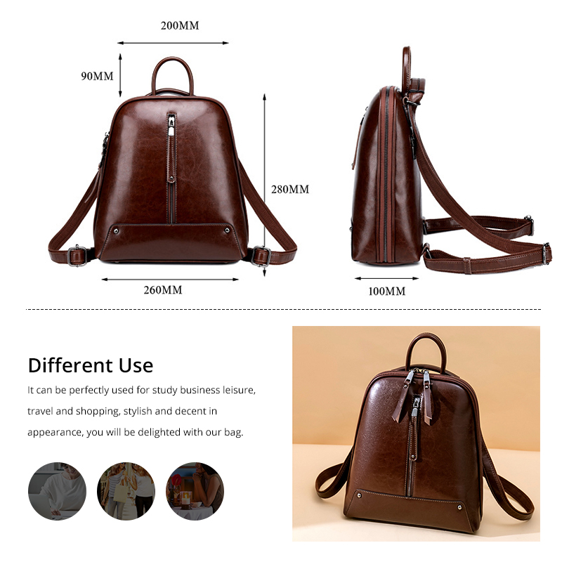 Image 4 - Realer women backpack school bags for teenager girls leather vintage school backpack large capacity mochila shoulder bags 2019-in Backpacks from Luggage & Bags