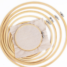 10pcs Round Wooden Embroidery Hoops Set Bulk Wholesale Adjustable Bamboo Circle Cross