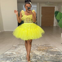 2020 African Trendy Yellow Tiered Tulle Mini Women Party Dresses New Applique Puffy Tutu Short Formal Dresses Summer Vestido