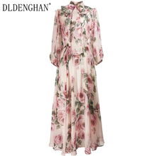 Chiffon Dress Designer Floral-Print Long-Sleeve Elegant Vintage Women's DLINGHAN Female