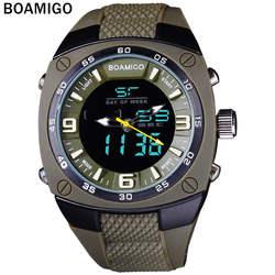 Мужские спортивные часы военные кварцевые часы dual disply светодиодный дисплей наручные часы Спорт BOAMIGO 30 м Водонепроницаемый цифровые часы