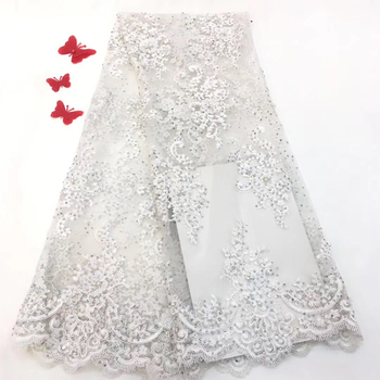 latest african tulle lace fabrics high quality 2019 white lace with 3D flower french lace fabric with stones and beads RF3127
