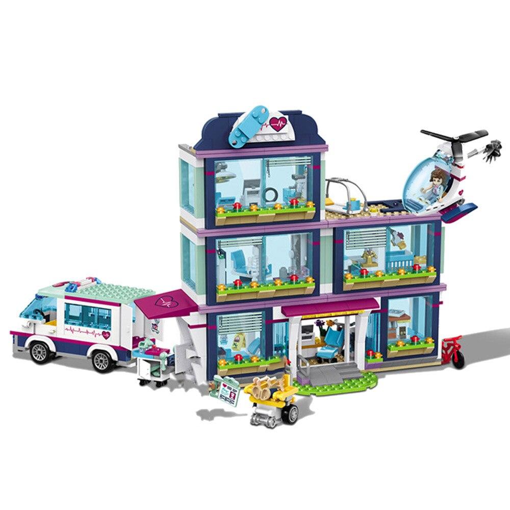 In Stock NEW 932pcs Heartlake City Park Love Hospital Girl lepinOD Friends Building Block Lepining Friends 41318 Brick Toy