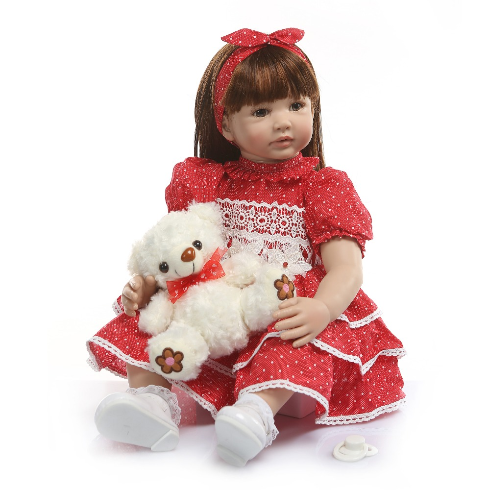 <font><b>60</b></font> <font><b>CM</b></font> Silicone <font><b>Reborn</b></font> Baby <font><b>Dolls</b></font> Toy For Girl Lifelike Toddler Princess Babies With Long Dress Child Dressing <font><b>Doll</b></font> Birthday Gift image