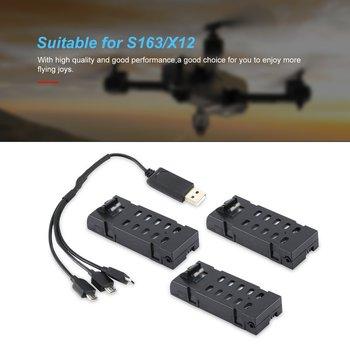 3 uds 3,7 V 500mAh S163/X12 batería con cargador 3 en 1 repuestos de batería recargable para Dron plegable de 4 ejes